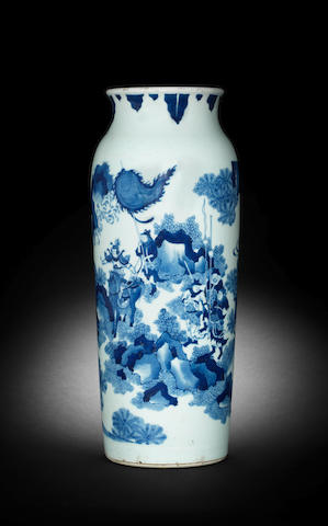 A blue and white cylindrical vase, rolwagen Circa 1640