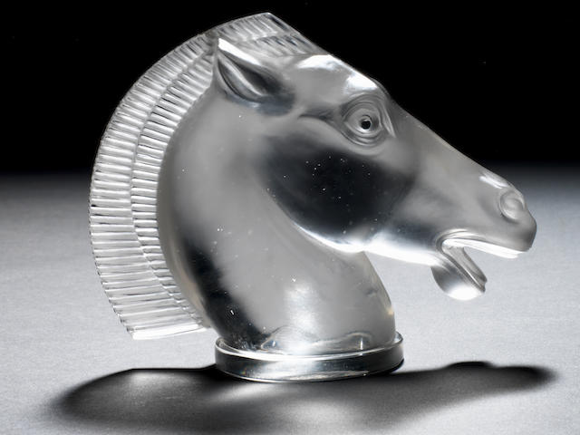 A fine and rare double-mane 'Longchamps' glass mascot, by Rene Lalique, introduced 12th June 1929,