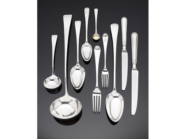 A George III silver Old English pattern flatware service and modern cutlery by George Smith III & William Fearn, London 1784 - 1796