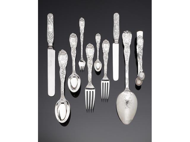 A late 19th century American silver Indian Chrysanthemum pattern table service of flatware and cutlery by Tiffany & Co, marked TIFFANY & Co. / STERLING / PAT. 1880 / M (98)