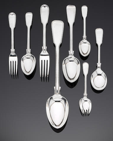 A Victorian silver Fiddle and Thread pattern table service of flatware by George Adams, London 1864 (71 items of silver)