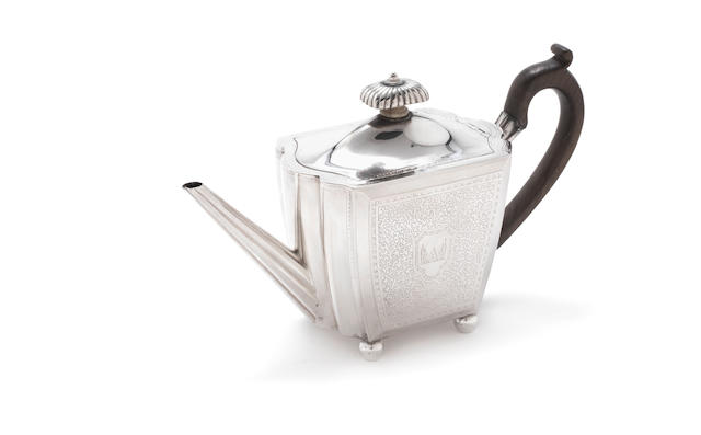 A George III silver tea pot by Henry Chawner, London 1794 together with a George III silver five-bottle fitted miniature cruet stand and two other items(4)