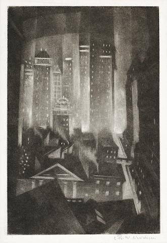 Christopher Richard Wynne Nevinson (British, 1889-1946) 43rd Street at Night The rare mezzotint, 1921, an excellent richly inked impression with delicate tones and velvety blacks, on F. J. Head & Co. hand-made laid, signed in pencil, with margins, 200 x 133mm (7 7/8 x 5 1/4in)(PL) unframed