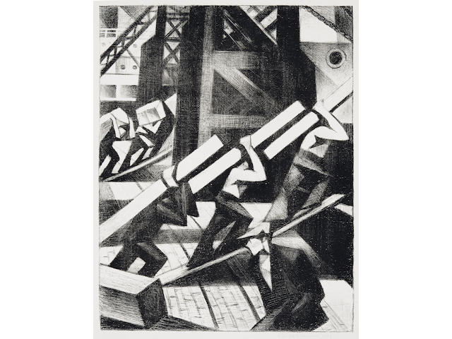 Christopher Richard Wynne Nevinson (British, 1889-1946) Loading the Ship  The rare lithograph, 1917, an excellent, crisp impression with strong contrasts, on watermarked Antique de luxe laid, signed in pencil, from the edition of 25, with full margins, 432 x 338mm (17 x 13 1/4in)(I) unframed
