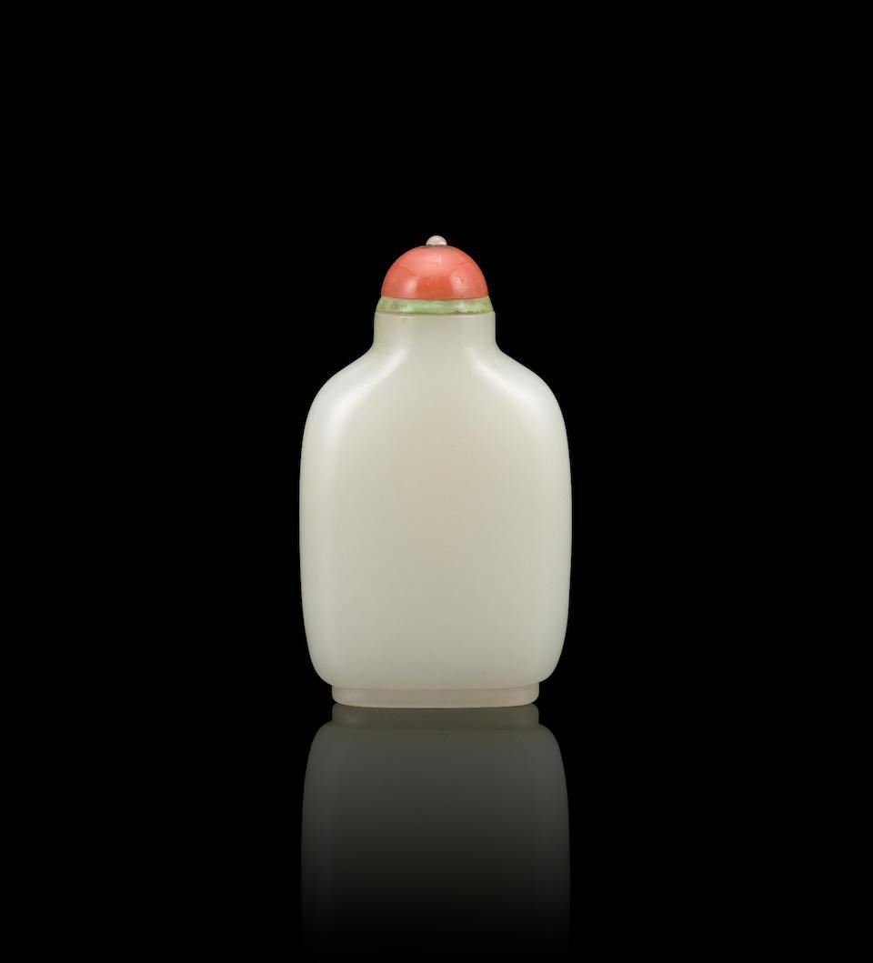 A plain white jade snuff bottle Qing Dynasty