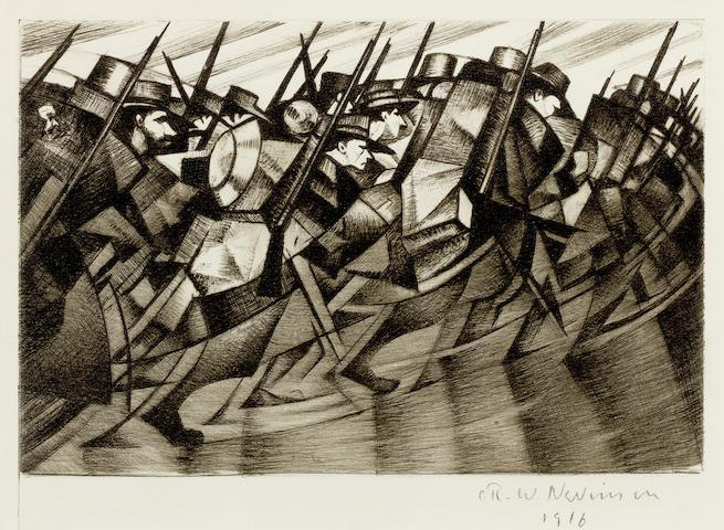 Christopher Richard Wynne Nevinson (British, 1889-1946) Returning to the Trenches  Drypoint, 1916, a good impression with rich burr and delicate tones, on partially watermarked F. J. Head & Co. hand-made laid, signed and dated in pencil, from the edition of 75, with full margins, 152 x 202mm (6 x 8in) (PL)