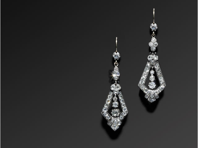 Three pairs of diamond earpendants (3)