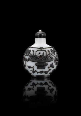 A black overlay glass 'flower basket' snuff bottle 1760-1810
