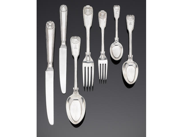 A Victorian silver Fiddle, Thread and Shell pattern table service of flatware and modern cutlery by George Adams, London 1854 (84)