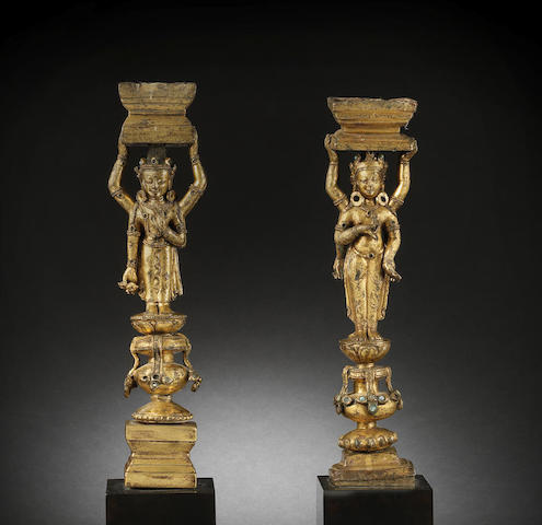 Two rare Densatil-style gilt-bronze supports 15th century
