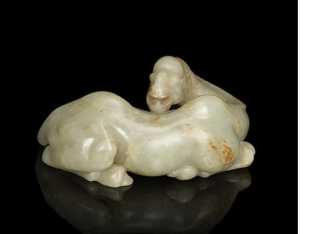 A large pale green and russet jade carving of a Bactrian camel 18th century