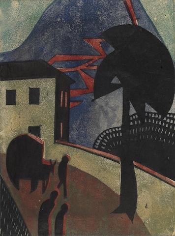 Dorrit Black (Australian, 1891-1951) The Eruption The rare linocut printed in black, blue, green and red, circa 1929-30, an excellent impression, on buff oriental laid, an unsigned proof impression aside from the proposed edition of 50, with margins, 254 x 187mm (10 x 7 3/8in) (B)