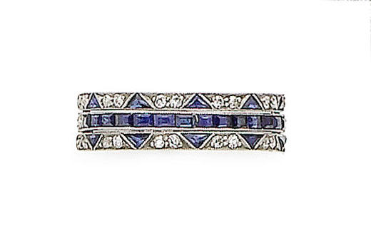 A sapphire and diamond eternity swivel ring,