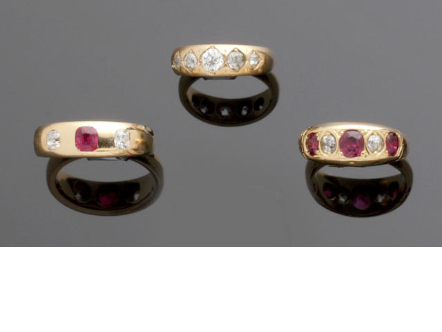 Six gem set rings (6)