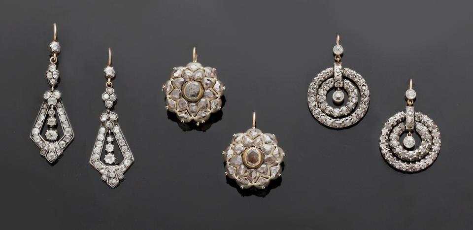 Three pairs of diamond earpendants (3)