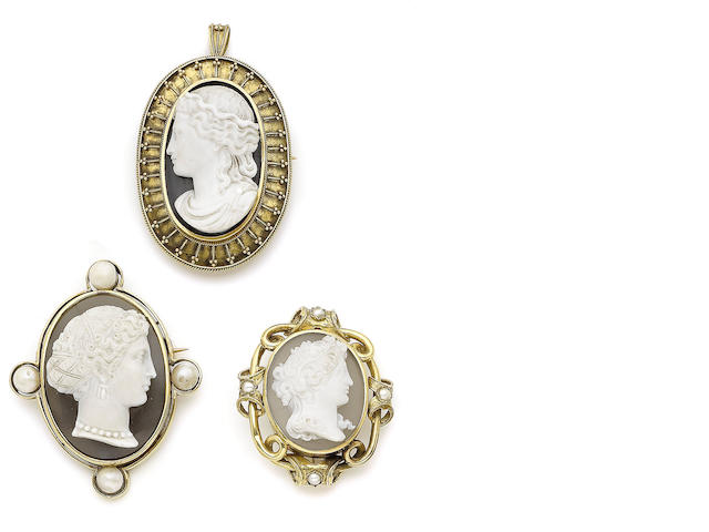 Three 19th century hardstone cameo brooches (3)