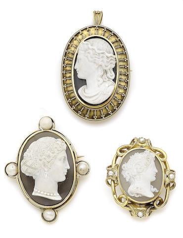 Three 19th century hardstone cameo brooches (3)