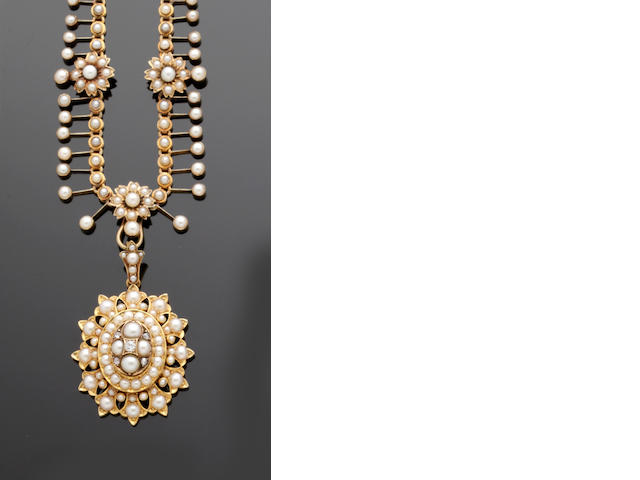 A seed pearl and diamond pendant necklace