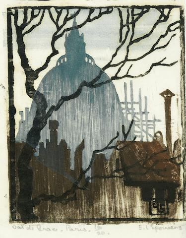 Ethel Spowers (Australian, 1890-1947) Val de Grâce, Paris Woodcut printed in grey-blue, dull blue, reddish brown and black, 1923, on buff oriental laid, signed, titled, dated and numbered 10/20 in pencil, with margins, 100 x 81mm (4 x 3 1/4in)(B) unframed