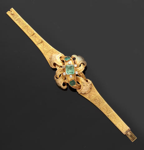 A mid 19th century gold mounted emerald and diamond set bracelet