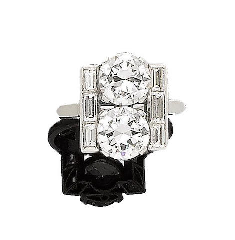 An art deco diamond two-stone ring,