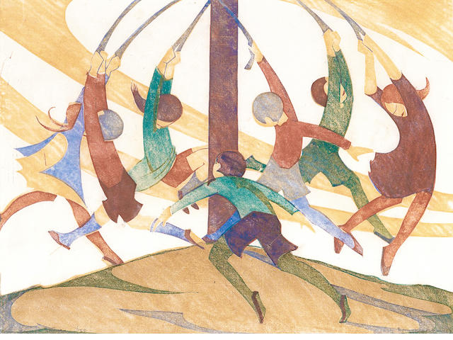 Ethel Spowers (Australian, 1890-1947) The Giant Stride Linocut printed in yellow ochre, reddish brown, viridian and cobalt blue, 1932-33, an early vibrant impression, on buff oriental laid tissue, signed and numbered 6/50 in pencil, with margins, 260 x 353mm (10 1/4 x 14in) (B)