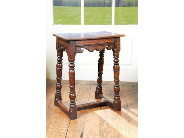 A rare Elizabeth I/James I oak joint stool, with H-shaped stretcher arrangement, circa 1600
