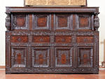 An impressive mid-17th century oak and marquetry-inlaid court cupboard, Leeds, Yorkshire, dated 1637