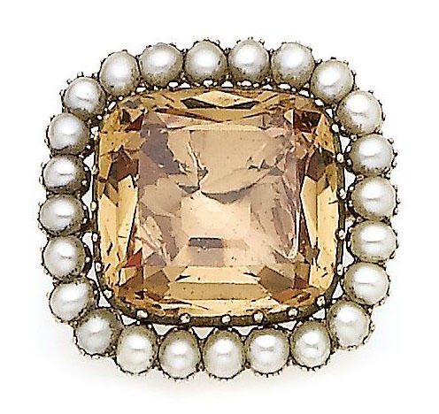 A 19th century topaz and pearl brooch