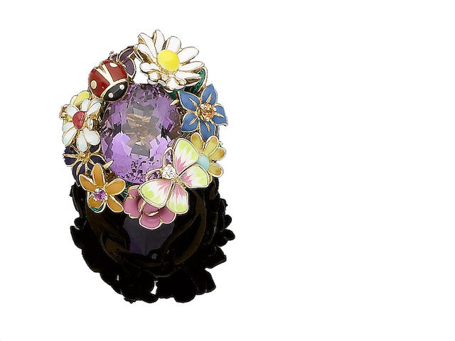 An enamel, amethyst, and diamond-set 'Jardin de Milly-la Forêt' ring, by Dior