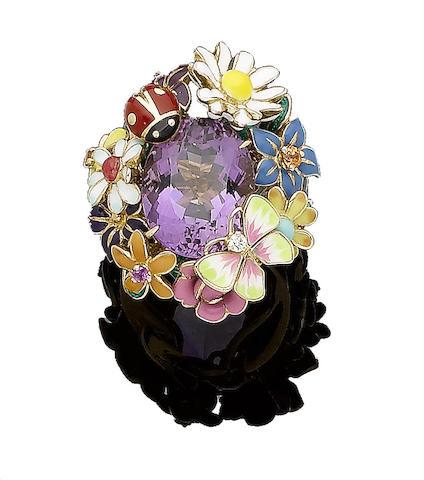 An enamel, amethyst, and diamond-set 'Jardin de Milly-la Forêt' ring, by Dior
