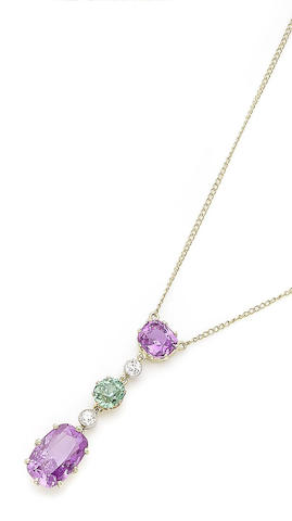 A pink sapphire, demantoid garnet and diamond pendant necklace