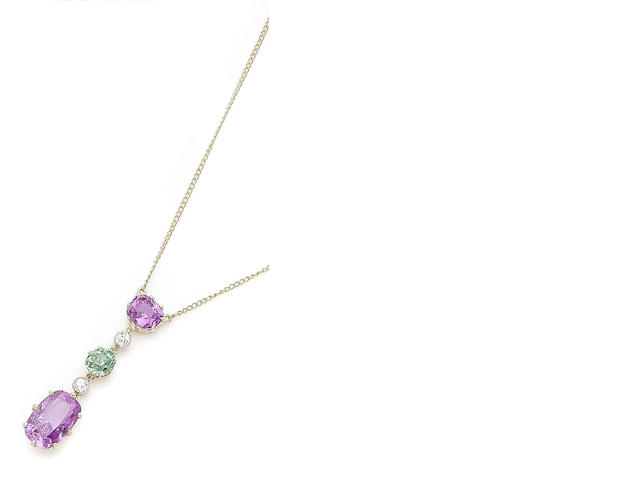 A pink sapphire, demantoid garnet and diamond pendant necklace