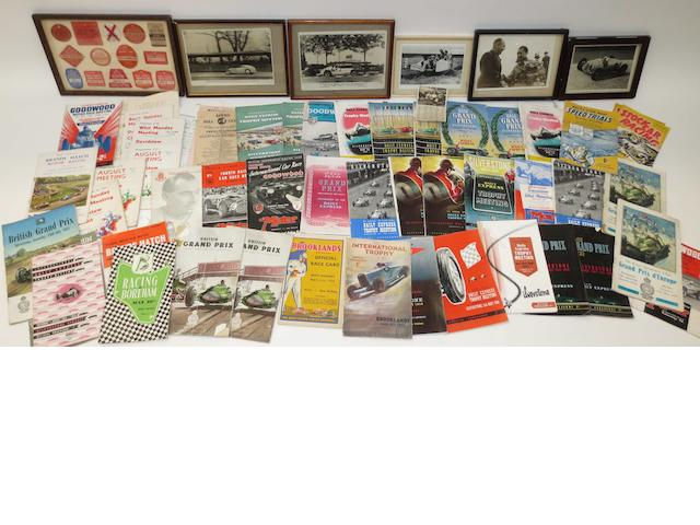 A good collection of Brooklands, Goodwood and other race programmes,