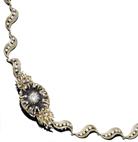 A gold and diamond necklace, by Charles de Temple,