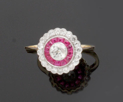 An Art Deco style ruby and diamond ring
