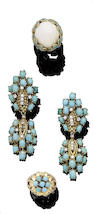 A collection of turquoise and diamond jewellery, (4)