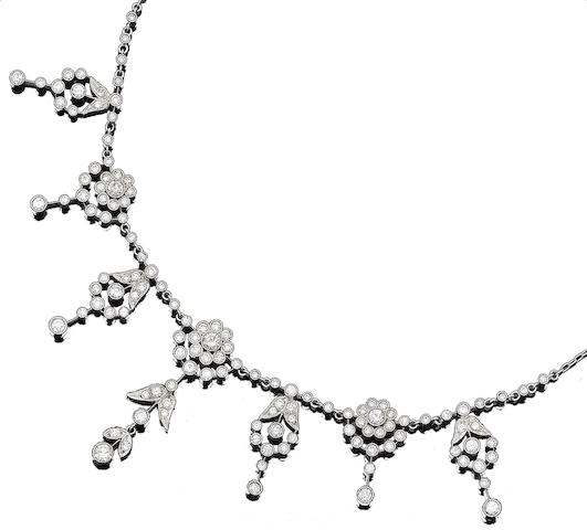 A diamond-set fringe necklace