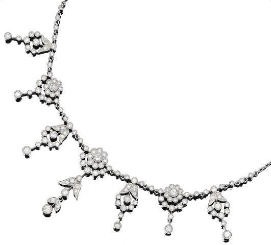 A diamond-set fringe necklace