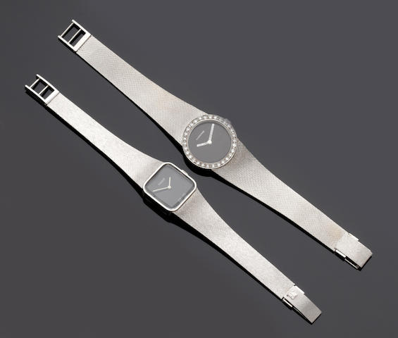 Two lady's 14ct white gold wristwatches