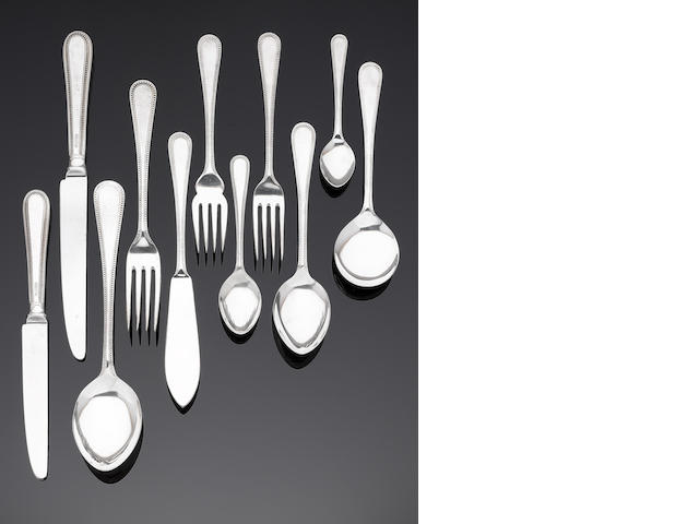 A silver Old English Bead pattern table service of flatware and cutlery predominately by Harrods Ltd, Sheffield 1988 / 1989