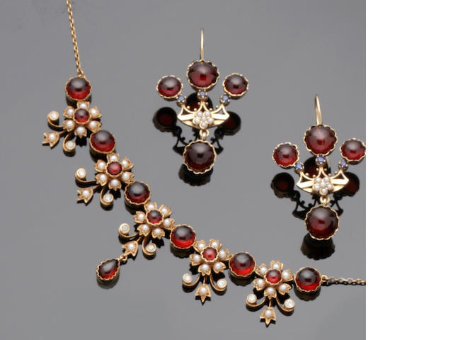 A garnet, diamond and half pearl fringe necklace and a pair of earpendants (2)