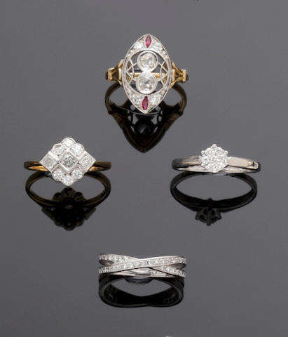 Four diamond set dress rings (4)