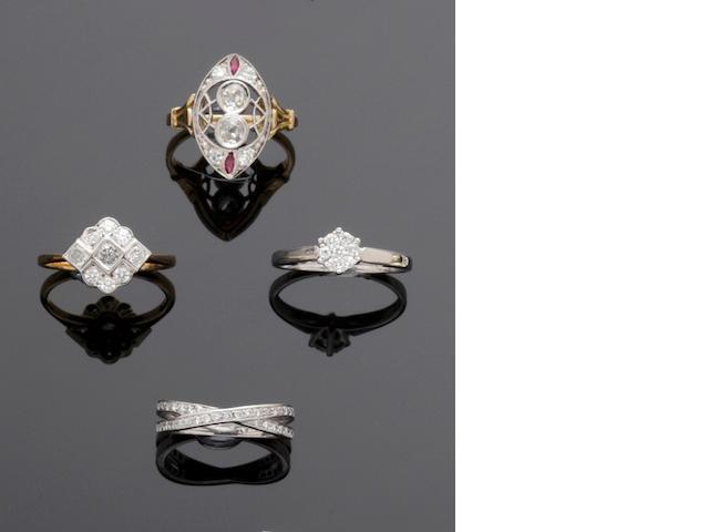 Four diamond set dress rings (4)