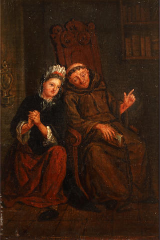 Dutch School, 19th Century Interior with a monk and lady