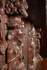 The Churche's Mansion Cupboard:  An important Elizabeth I carved oak press cupboard, circa 1577 Made for Rychard and Margerye Churche of Churche's Mansion, Nantwich, Cheshire