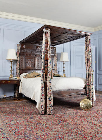 A Charles I and later oak tester bed, circa 1640 and later
