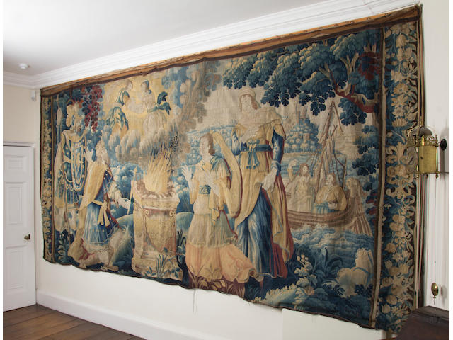 A late 17th century tapestry, Flemish, The sacrifice of a deer in place of Agamemnon's daughter Iphigenia