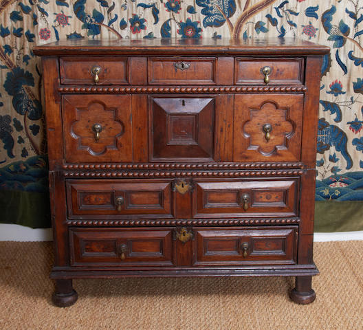 A William and Mary geometric chest of drawers, of various mixed timbers, circa 1690