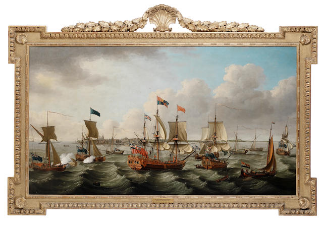 John Cleveley (British, circa 1712-1777) The flotilla of ships, led by the Royal Charlotte in company with five other royal yachts, arriving off Harwich on 6th September 1761, after conveying Princess Charlotte of Mecklenburg to England for her marriage to George III